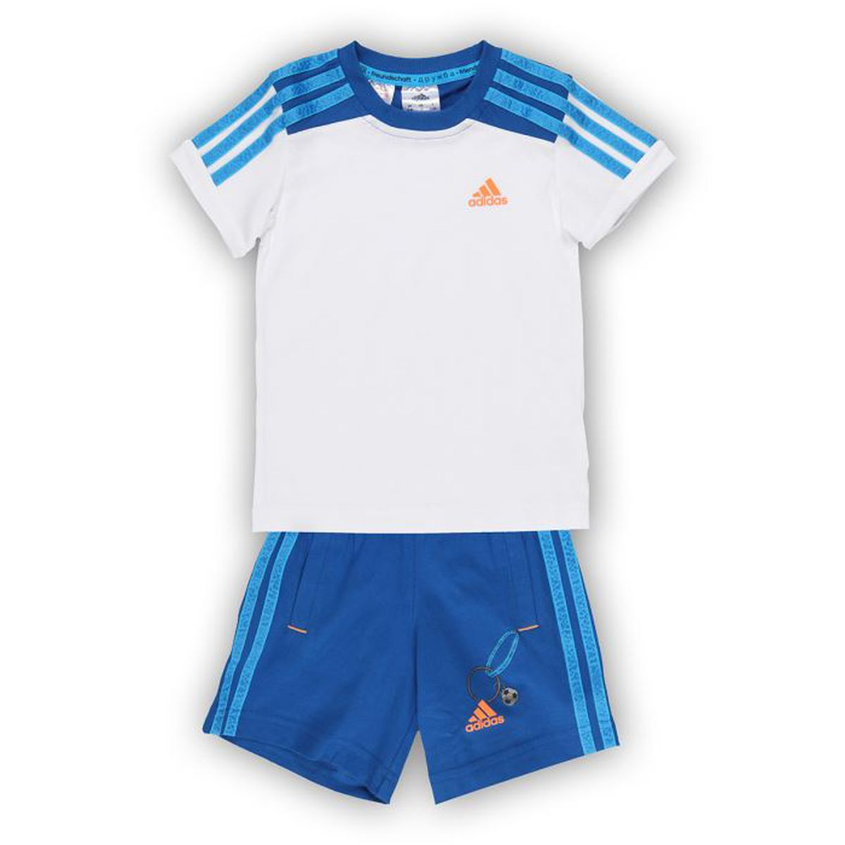 adidas ensemble t shirt short enfant gar on blanc et bleu achat vente surv tement cdiscount. Black Bedroom Furniture Sets. Home Design Ideas