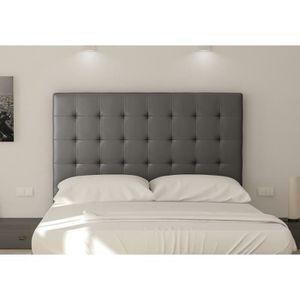 TÊTE DE LIT SOGNO Tête de lit capitonnée - Simili gris - L 160