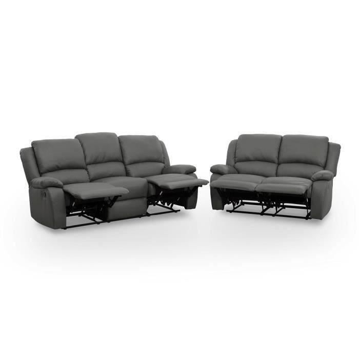 Relax ensemble canap s simili 3 places 2 places 190x93x96 cm 144x93x96 - Canapes de relaxation ...