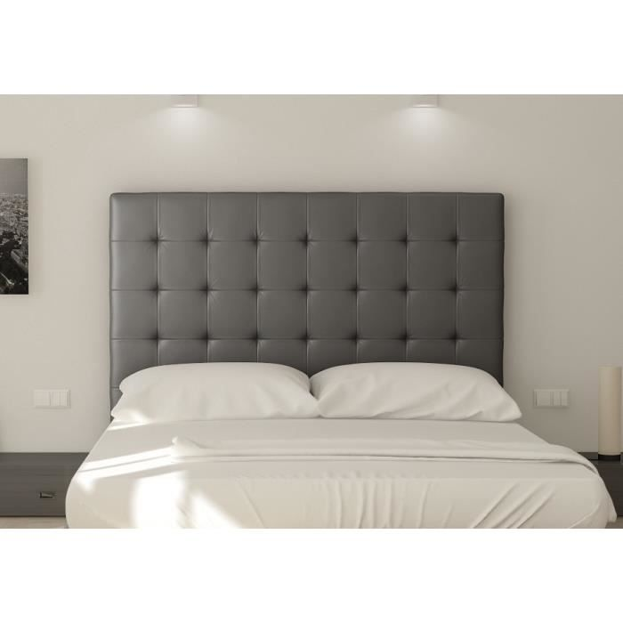 sogno t te de lit capitonn e simili gris l 180 cm achat vente t te de lit sogno t te de. Black Bedroom Furniture Sets. Home Design Ideas
