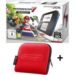 CONSOLE 2DS Pack 2DS Bleue + Mario Kart 7 + Housse Rouge