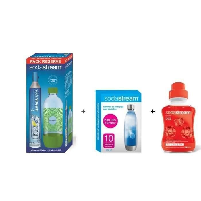 pack sodastream accessoires lot cylindre co2 1 bouteille 1l lot 10 pastilles de nettoyage. Black Bedroom Furniture Sets. Home Design Ideas