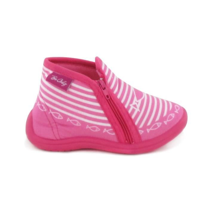 BEONLY Chaussons Timousson ZIP - Enfant Fille - Rose HIcuoh