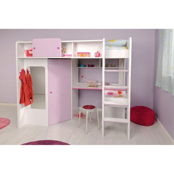 ladys lit enfant sur lev 90x200 cm blanc et rose. Black Bedroom Furniture Sets. Home Design Ideas