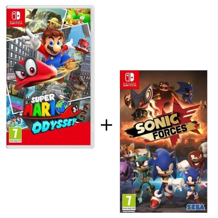 pack de 2 jeux nintendo switch super mario odyssey sonic forces achat vente jeu nintendo. Black Bedroom Furniture Sets. Home Design Ideas
