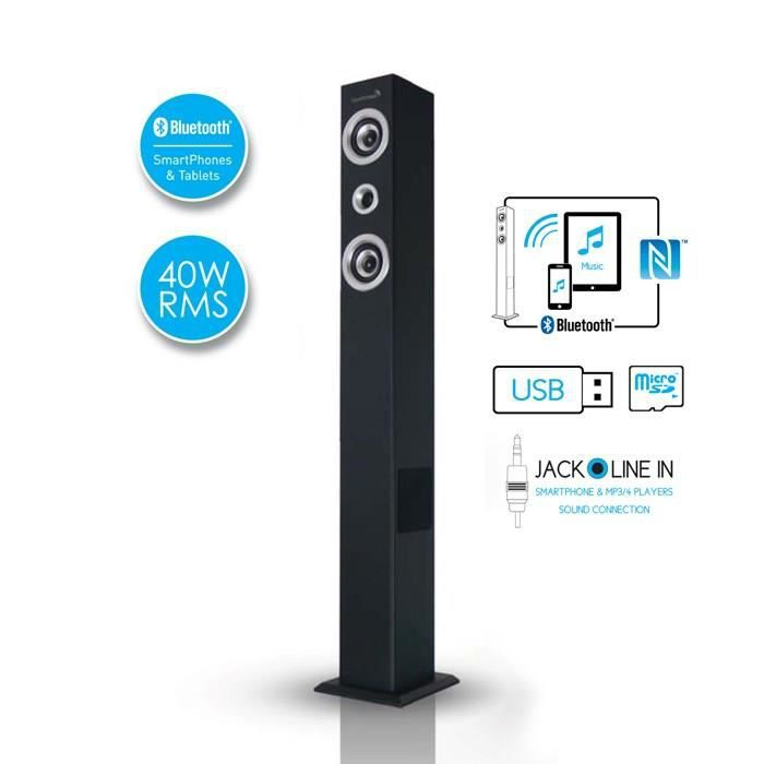soundtower sb enceinte tour bluetooth noir enceintes bluetooth avis et prix pas cher. Black Bedroom Furniture Sets. Home Design Ideas