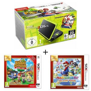 CONSOLE NEW 2DS XL New 2DS XL Noir/Citron Vert + animal crossing + ma