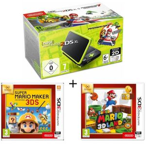 CONSOLE NEW 2DS XL New 2DS XL Noir/Citron Vert + Super Mario Maker +