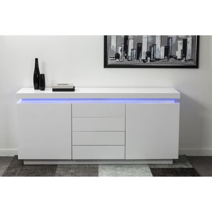 login buffet blanc clairage led l175 cm achat vente buffet bahut login buffet l175 cm. Black Bedroom Furniture Sets. Home Design Ideas