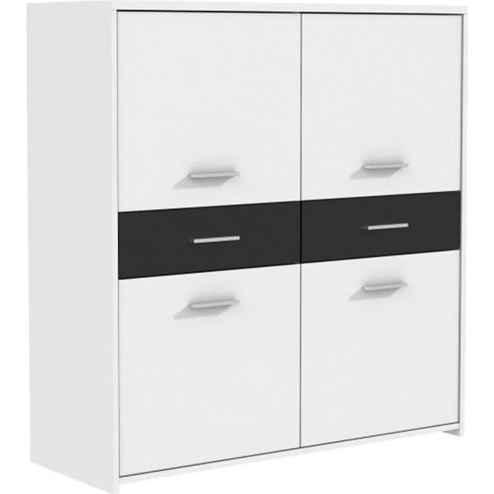 finlandek buffet haut el m contemporain en bois agglom r blanc et noir l 113 cm achat. Black Bedroom Furniture Sets. Home Design Ideas