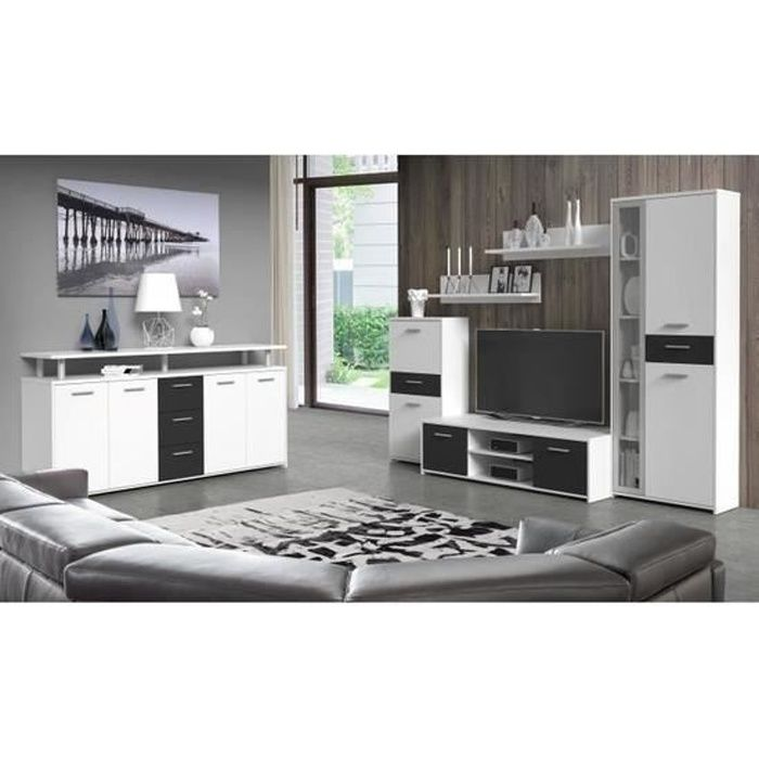 finlandek ensemble salon 6 pi ces noir et blanc achat. Black Bedroom Furniture Sets. Home Design Ideas