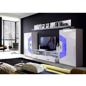 MEUBLE TV SAPHIR Meuble TV LED contemporain blanc brillant -