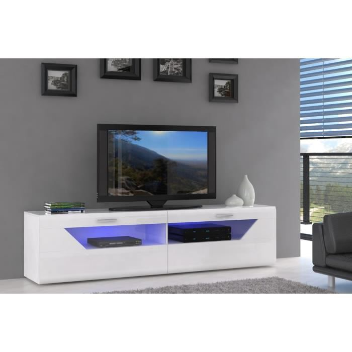 saphir meuble tv 200 cm blanc brillant led achat vente meuble tv saphir meuble tv 200x50. Black Bedroom Furniture Sets. Home Design Ideas