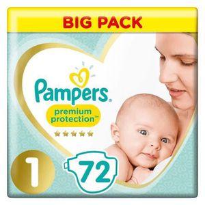 PAMPERS Couches Premium Protection New Baby Taille 1 - 2 à 5 kg - 72 pièces - Lot de 2