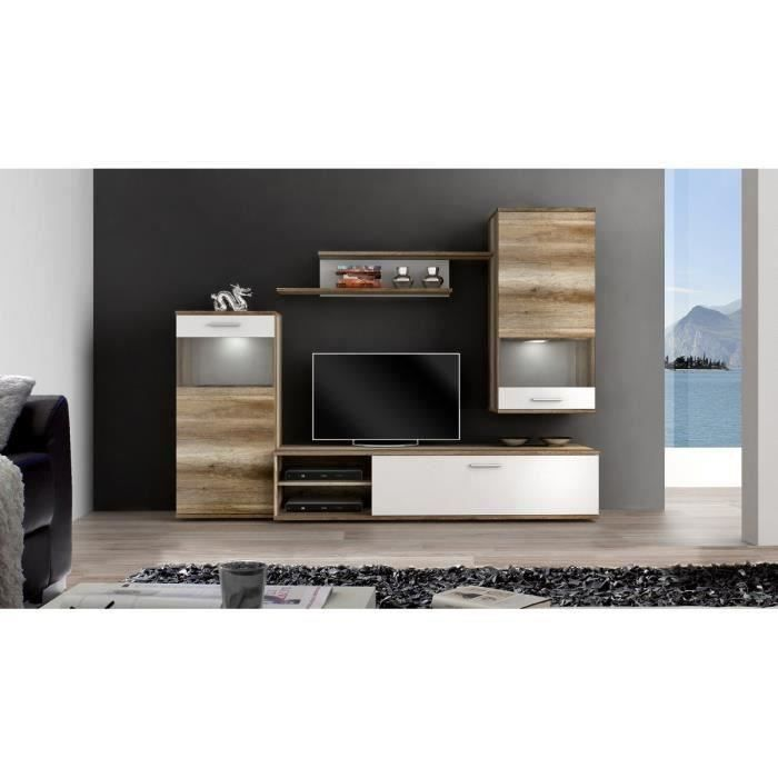 filou meuble tv mural 213cm d cor ch ne et blanc achat vente salle manger nature ensemble. Black Bedroom Furniture Sets. Home Design Ideas