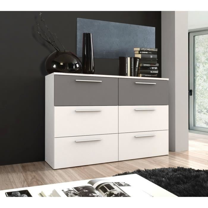 lou commode 6 tiroirs blanc et gris 150x 100 cm achat vente commode de chambre lou commode. Black Bedroom Furniture Sets. Home Design Ideas