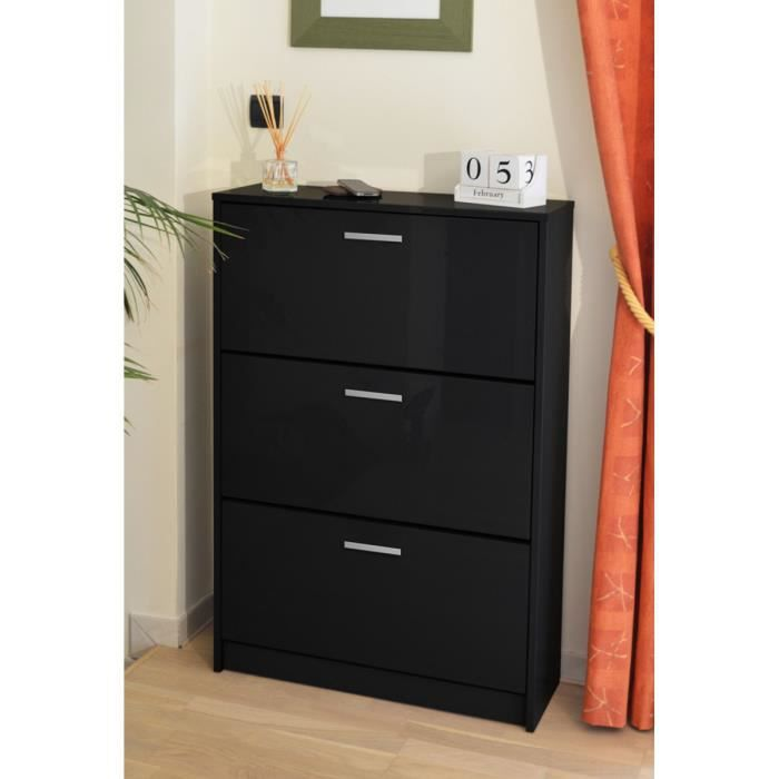 klaket meuble chaussures 74 cm noir haute brillance. Black Bedroom Furniture Sets. Home Design Ideas