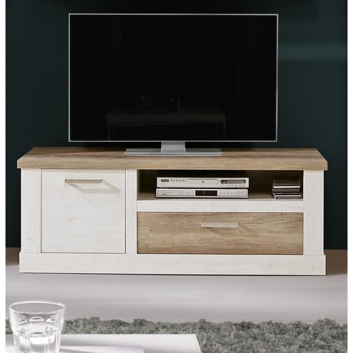 duro meuble tv 140cm d cor pin blanc et marron achat vente meuble tv duro meuble tv 139. Black Bedroom Furniture Sets. Home Design Ideas