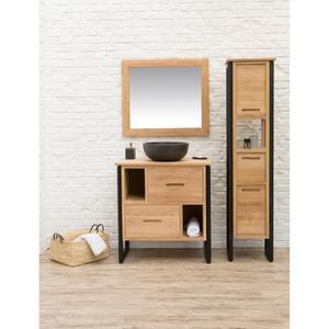 meuble salle de bain metal et bois achat vente meuble. Black Bedroom Furniture Sets. Home Design Ideas