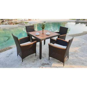 SALON DE JARDIN  ATLANTA Ensemble table avec plateau acacia et 4 fa
