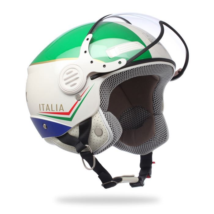 casque jet cgm 107i italia blanc vert bleu achat vente casque moto scooter casque jet. Black Bedroom Furniture Sets. Home Design Ideas