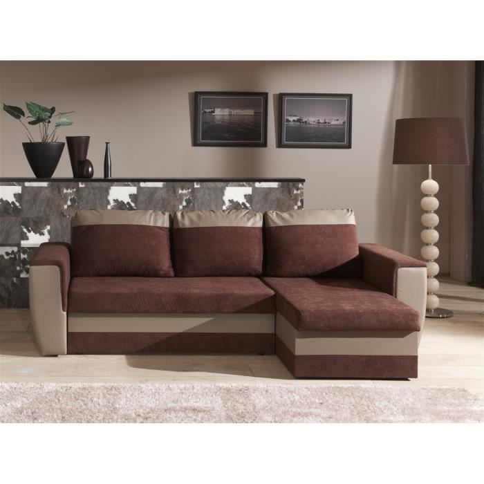 brugges canap d 39 angle convertible simili 4 places 241x140x86 cm chocolat et taupe achat. Black Bedroom Furniture Sets. Home Design Ideas