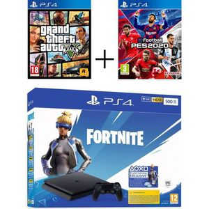 CONSOLE PS4 Pack Playstation : PS4 Slim 500 Go Noire + Voucher