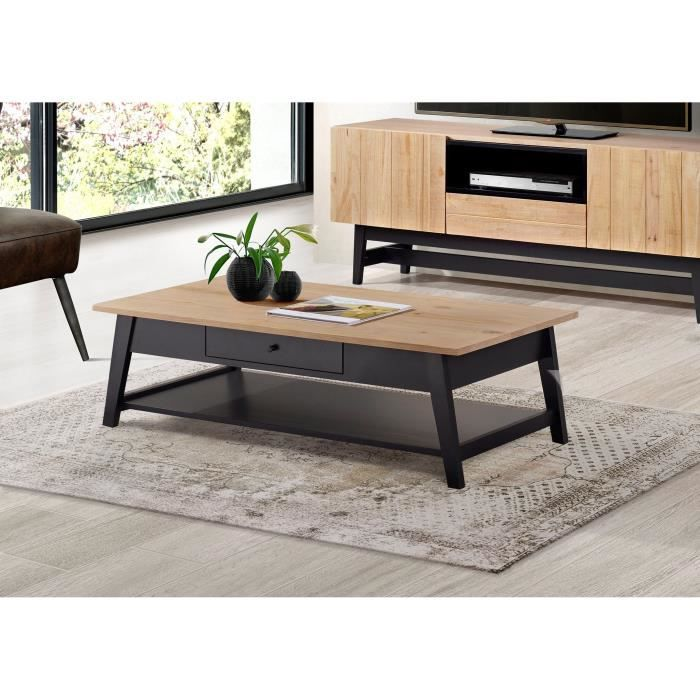 Studio table basse style industriel en pin massif verniss for Table basse noir et bois