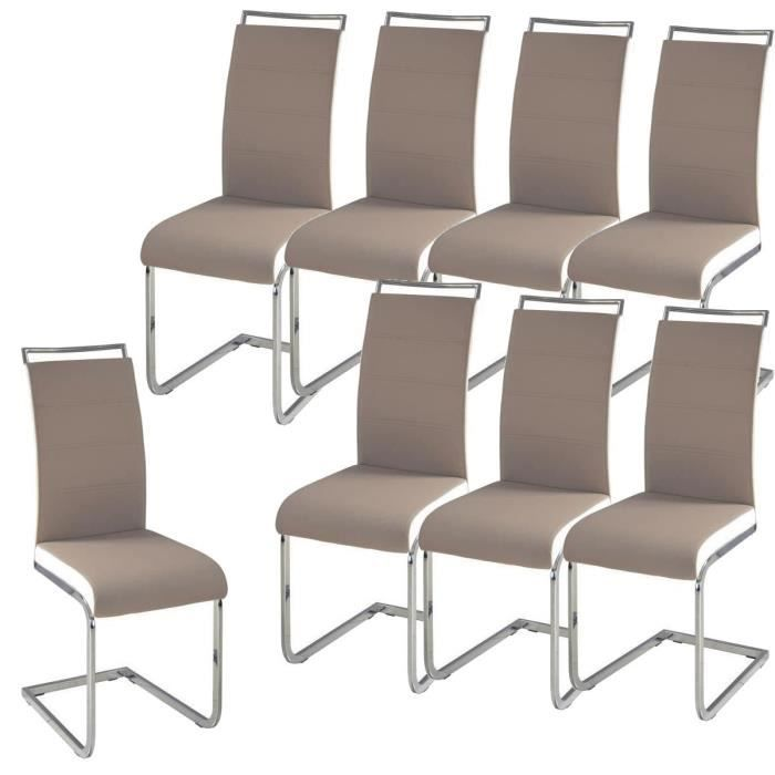 dylan lot de 8 chaises salon taupe blanc achat vente chaise cdiscount. Black Bedroom Furniture Sets. Home Design Ideas