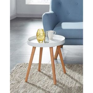 TABLE D'APPOINT ELLIOT Table d'appoint ronde 40x40 cm - Laqué blan