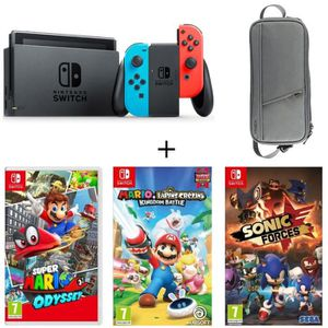 CONSOLE NINTENDO SWITCH Pack Nintendo Switch Néon + 3 jeux Switch : Super
