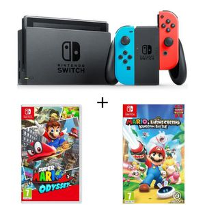 CONSOLE NINTENDO SWITCH Pack Nintendo Switch Néon + 2 jeux Switch : Mario