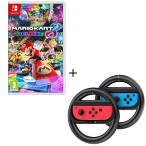 JEU NINTENDO SWITCH Mario Kart 8 Deluxe Jeu Switch + Pack de 2 volants