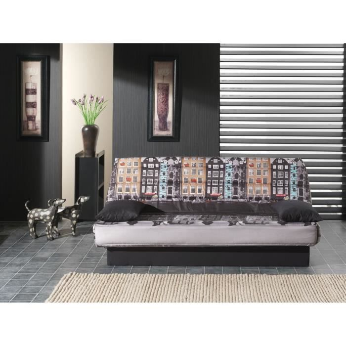 coco banquette clic clac convertible lit 3 places tissu polyester imprim amsterdam achat. Black Bedroom Furniture Sets. Home Design Ideas