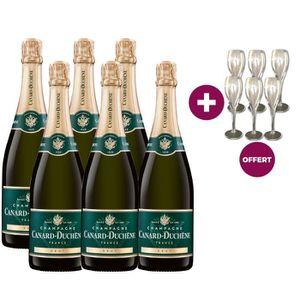 COFFRET CADEAU VIN 6 Champagnes Canard-Duchêne Brut ACHETES = 6 flûte