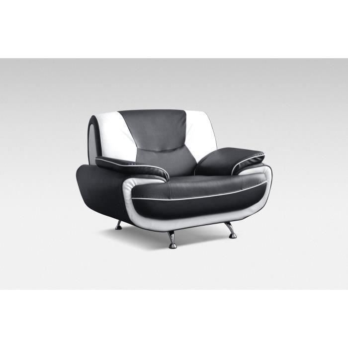 spacio fauteuil en simili noir et blanc achat vente fauteuil synth tique pvc. Black Bedroom Furniture Sets. Home Design Ideas