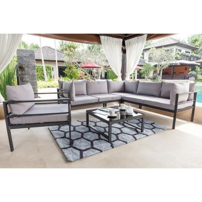 Ensemble table et chaise de jardin Salon de jardin en aluminium et verre trempé 5 per