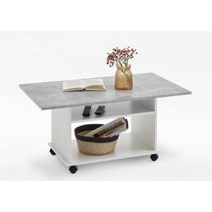 TABLE BASSE Table basse AZUR - Contemporain - Blanc et gris ef