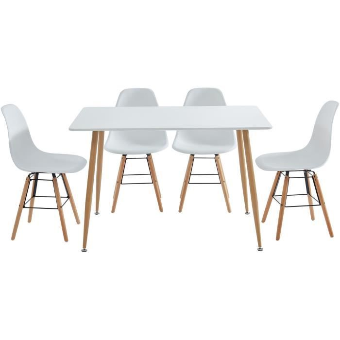 Kittos Ensemble Table A Manger 4 Chaises Laque Blanc Style