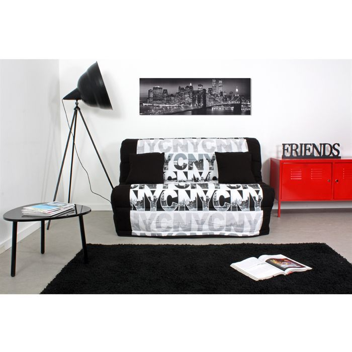 new york banquette bz noir blanc achat vente bz tissu polyur thane polyester tissu toile. Black Bedroom Furniture Sets. Home Design Ideas