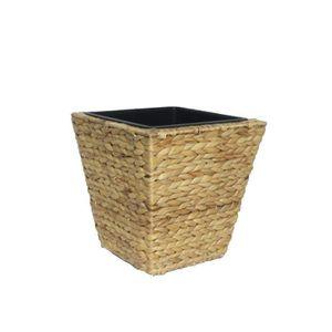 JARDINIÈRE - BAC A FLEUR Pot de fleur carré en jacinthe d'eau tressée - 28