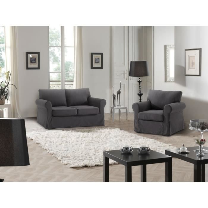 cosy canap 2p fauteuil anthracite achat vente. Black Bedroom Furniture Sets. Home Design Ideas