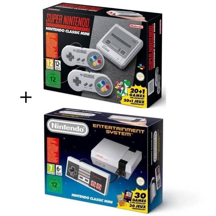CONSOLE RÉTRO NOUV. Pack 2 consoles Retro Nintendo : Super NES + Class