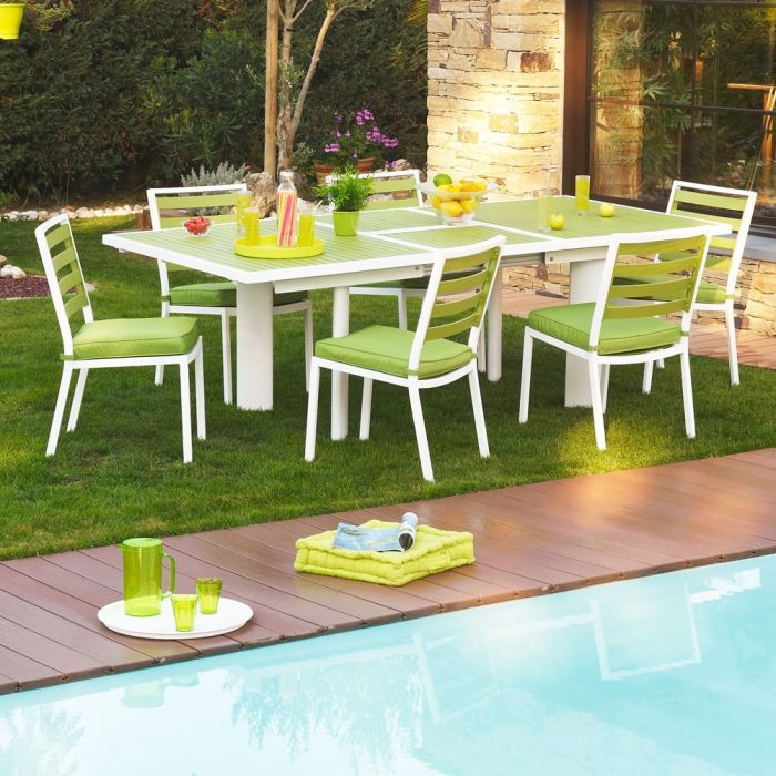 pivert table avec rallonge papillon 180 240 cm achat vente table de jardin table pivert. Black Bedroom Furniture Sets. Home Design Ideas