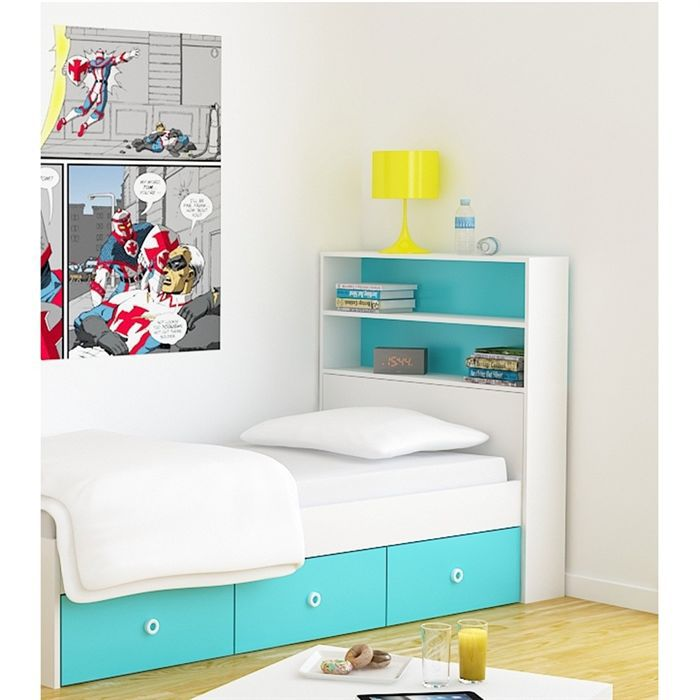 lagoon t te de lit enfant 90 cm blanc turquoise achat vente t te de lit lagoon t te de lit. Black Bedroom Furniture Sets. Home Design Ideas