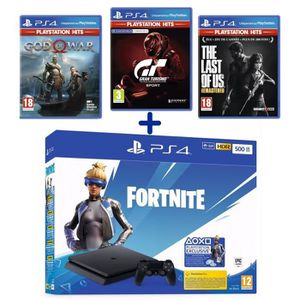 CONSOLE PS4 PS4 Slim 500 Go Noire + God of War HITS + GT Sport