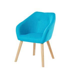 FAUTEUIL HILDA Fauteuil - Tissu bleu turquoise - Scandinave