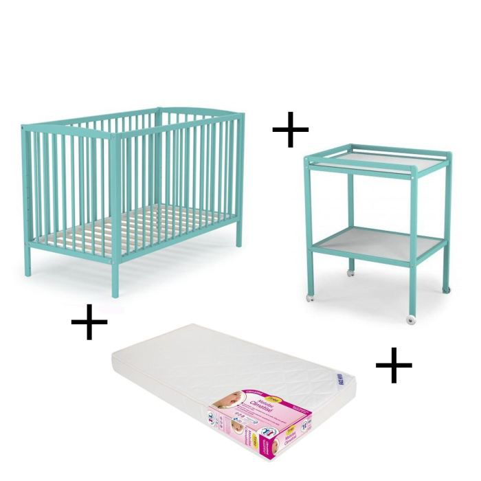 At4 pack lit b b et table langer turquoise achat - Lit bebe table a langer integree ...