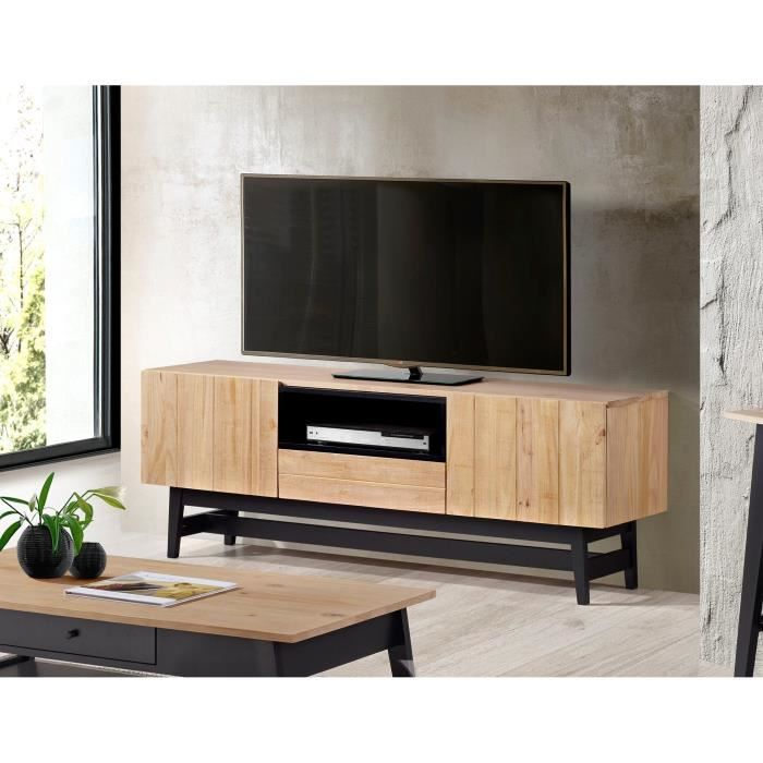 studio meuble tv industriel en bois massif vernis et noir l 160 cm achat vente meuble tv. Black Bedroom Furniture Sets. Home Design Ideas