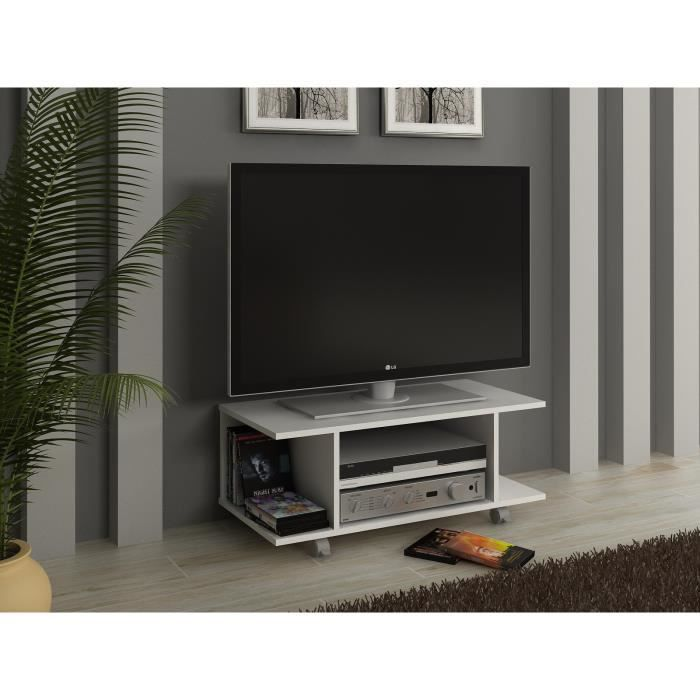 hardy meuble tv blanc 80 cm achat vente meuble tv hardy meuble tv blanc panneaux de. Black Bedroom Furniture Sets. Home Design Ideas